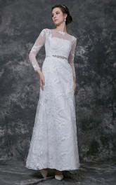 A-Line Jeweled Belt Full-Sleeve Sophisticated Gown