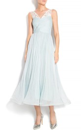 V-neck Criss cross Sleeveless Tea-length A-line Dress With Lace And Pleats
