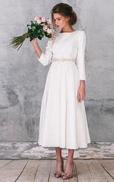 Bateau Long Sleeve Tea-length Dress With Jeweled Waist And Zipper