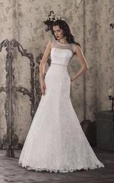 Bridal Illusion Lace-Up Back Lace Trumpet Dress