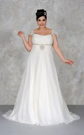 Cap-sleeve A-line Empire long plus size wedding dress With Beading And Court Train
