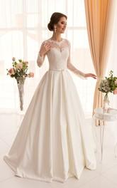 Long-Sleeve Appliqued Long A-Line Satin Dress