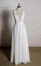 A-Line Simple Strap Back V-Neckline Sassy Bridal Dress