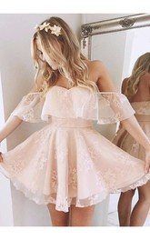 Sleeveless A-line Short Mini Off-the-shoulder Ruching Lace Homecoming Dress