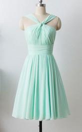 Mint Short Chiffon Halter Formal Dress