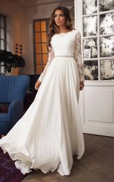 Bateau Taffeta Lace Long Sleeve Sweep Train Deep-V Back Wedding Dress