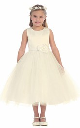 Tulle Embroidery Floral Tea-Length Flower Girl Dress