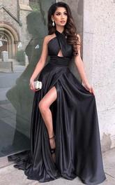 A Line Satin Halter Sleeveless Floor-length Sweep Train Evening Dress With Split Front