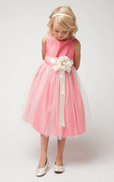 Tulle Layered Tea-Length Satin Flower Girl Dress