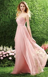 Sweetheart Criss cross Chiffon Bridesmaid Dress With Zipper
