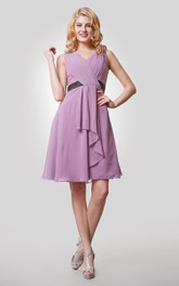 Chiffon Pleated Draping Sleeveless V-Neckline Dress