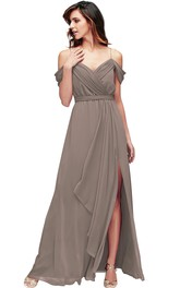 Spaghetti Chiffon Split Front Bridesmaid Dress With bow