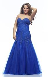 Mermaid Floor-length Sweetheart Sleeveless Lace Appliques Backless Dress