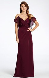 Spaghetti V-neck Floor-length Chiffon Dress With Backless design
