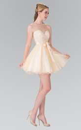 A-Line Deep-V-Back Satin Bow Short Mini Sleeveless Scoop-Neck Tulle Dress