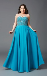 A-line Floor-length Sweetheart Sleeveless Jersey Beading Backless Dress