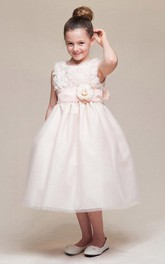 High-Waist Embroidery Floral Tea-Length Flower Girl Dress