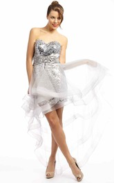 Sweetheart Sequined Pencil Tulle Dress With Zipper