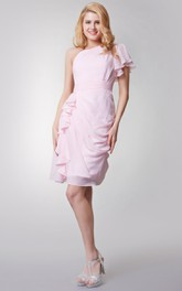 Elegant Short Ruffled Chiffon Dress With One Sleeve