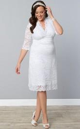 V-neck 3-4-sleeve Knee-length Lace Wedding Dress
