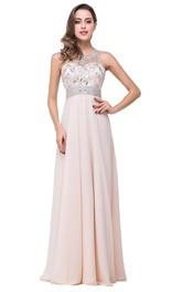 Chiffon Zipper Illusion Formal Beadeded Elegant A-Line Dress