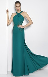 Maxi Halter Sleeveless Appliqued Chiffon Prom Dress