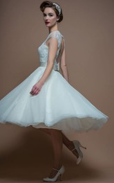 Jewel-Neck Cap-sleeve Organza Tea-length Dress With Keyhole And Lace top