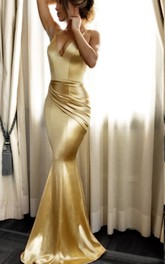 V-neck Satin Sleeveless Floor-length Brush Train Mermaid Prom Dress