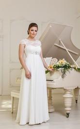 Cap-Sleeve Jewel Chiffon Pleatings Long A-Line Lace-Up-Back Dress