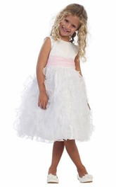 Sleeveless Satin Ruched Tea-Length Organza Flower Girl Dress
