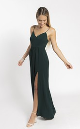 Simple Spaghetti Straps V-neck Bridesmaid Dress With Front Split And Open Back