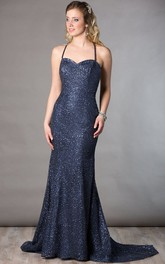Floor-Length Back Criss Cross Strapped Column Spaghetti-Strap Mother Of The Bride