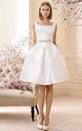 square-neck Sleeveless Satin A-line short Wedding Dress With Jeweled Waist