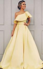 A Line Sleeveless Satin Simple Evening Dress with Ruffles