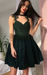 Sleeveless A-line Short Mini High Neck V-neck Lace Pleats Ruching Chiffon Lace Homecoming Dress