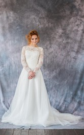 Organza Lace Top Long-Sleeve Bateau-Neckline Dress