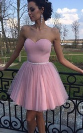 Sleeveless A-line Short Mini Sweetheart Beading Pleats Satin Tulle Homecoming Dress