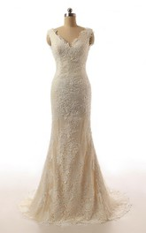 Brush-Train Bridal Cap-Sleeve Trumpet Lace Dress