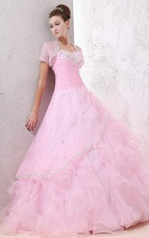 Princess Ruffled Jeweled Top Sweetheart Blushing Ball Gown