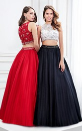 Sleeveless A-line Pleated Two Piece Prom Dress With Beading