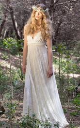 Floor-Length Jersey Satin Lace Backless Wedding Dress