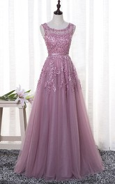 Cute Bateau Sleeveless Floor-length Tulle Dress With Floral Appliques And Beading