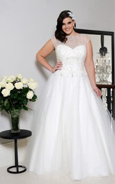 Bateau Illusion Cap-sleeve Tulle Satin Ball Gown With Beaded top