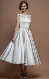 Bateau Sleeveless Satin Tea-length A-line Dress With jewels