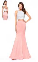 2-Piece Jeweled Column Long Sleeveless Scoop-Neck Jersey Dress