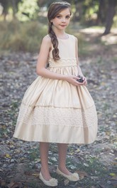 Sequined Lace Layered 3-4-Length Tulle Flower Girl Dress