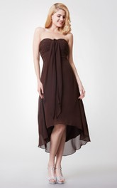 Tea-Length Ruched Sleeveless Shinning Dress