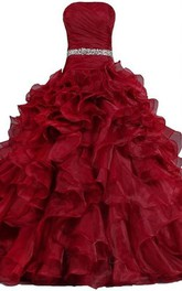 Straps Lace Straps Sleeveless Bell Jeweled Pleats Corset Ball Gown