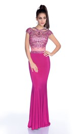 Jewel-Neck Cap-sleeve Jersey Prom Dress With Beading And Illusion