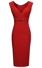 V-neck Pencil Knee-length Jersey Dress With Zipper